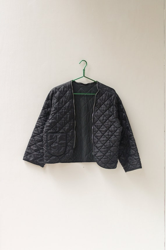 XS Small 90s Quilted Liner Jacket / Black Quilted