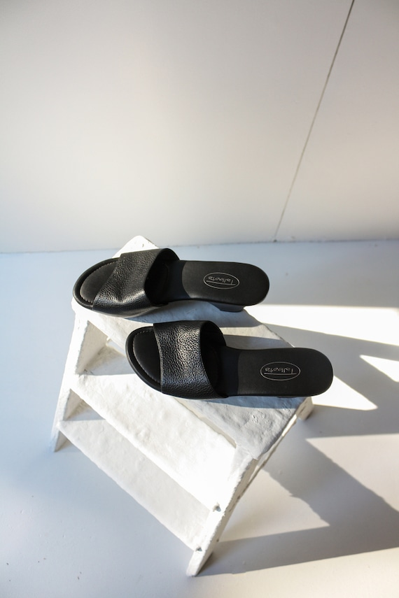 90s 5.5 6 Black Leather Wedge Mules / 90s Leather… - image 2