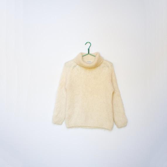 1950s Small Cream Mohair Turtleneck/ Wool Mohair B