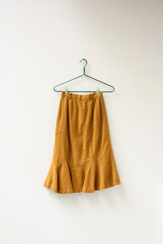 "70s 23"" Waist Wool 70s Does 40's Skirt / Petite Go"