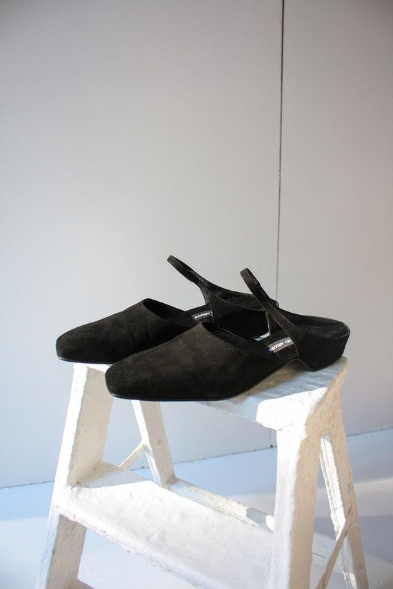 1990s 9.5 EU 40 Giorgio Armani Black Suede Slip On