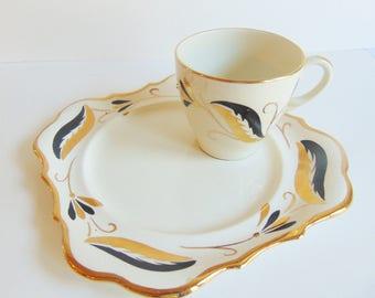 Lancaster & Sandland Ltd Hanley Staffordshire England Circa 1949 Snack Plate with Tea Cup Antique Black Gold Beautiful Lusterware