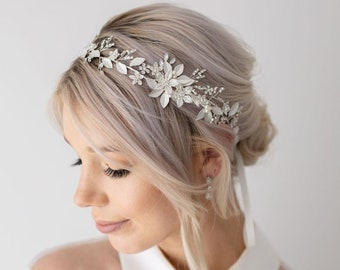Signature Luxe Floral Wedding Bridal Headband | Bride Heapiece| Wedding Hair Accessories| Floral Bridal Hair Vine| Wedding Headband