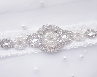 Deco Glam Crystal and Lace Wedding Bridal Garter