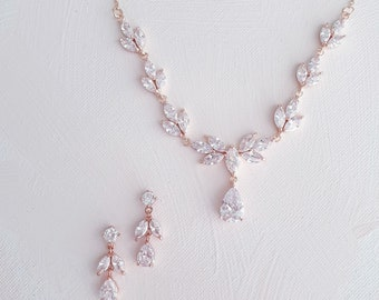 Rose Gold Bridal necklace and earrings  Bridal jewelry set   Rose gold CZ Wedding necklace set  Leaf style Wedding jewelry for bride  HAYLEY