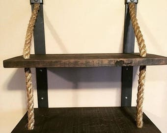"""Two Tier Manila Rope Shelf...a great way to display or store items easy to wall mount...brackets are 16"""" on center...great for bar or room"""