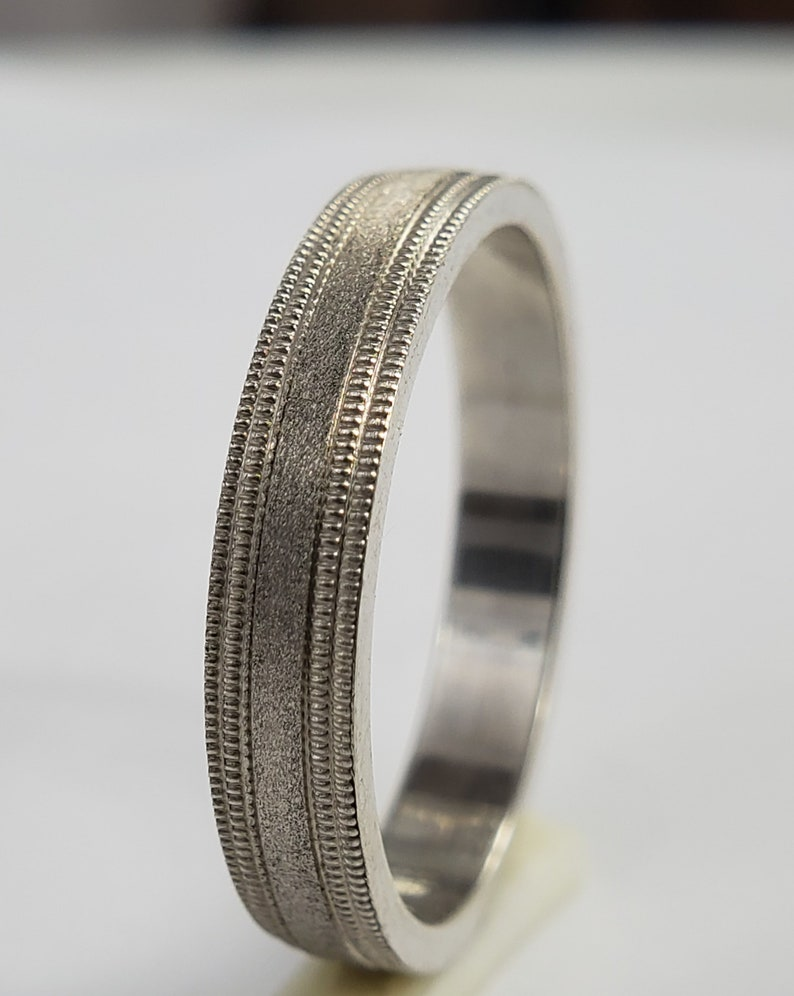 Sterling Silver Ring with Double Millgrain and Sand Blast Finish