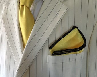 Pocket Square Hand Made Gold And Black Stitched Borders By Squaretrapny.com