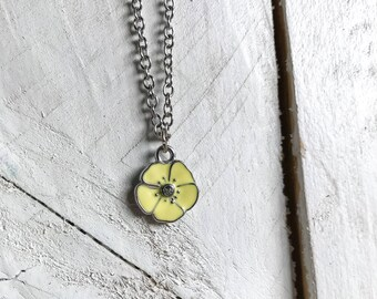 Yellow Flower Kid's Charm Necklace, Charm Necklace, Kid's Necklace, Kid's Jewelry, Flower Necklace, Floral Necklace, Chain and Link Necklace