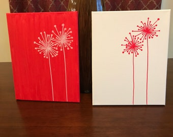 Red and white dandelions - 2 panels (any color available)