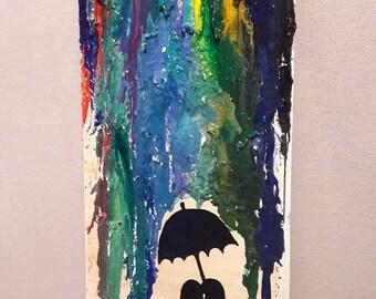 3D picture couple under umbrella