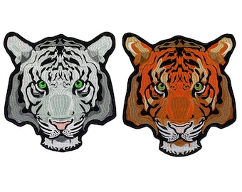 85325d86e3e79 Tiger Head Appliques Embroidery Badges Iron on Biker Jacket Back Patches  Clothes Repair Decorated 1 piece