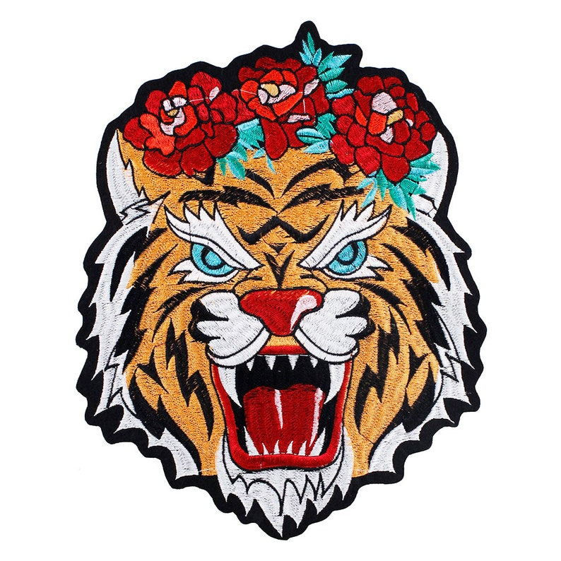 Large Tiger Head Embroidery Applique Sequin Jeans Sew Iron on Patch Jacket Badge