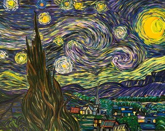 Van Gogh Starry Night Re Production Hand Painted Oil Painting  By Katexu