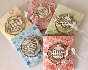 Pack of five gift cards with tea