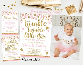 Twinkle twinkle little star first birthday invitation, Pink and gold first birthday invitation, girl first birthday invitation