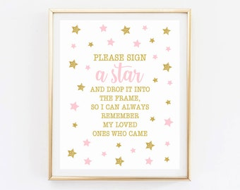 Sign a star Twinkle twinkle little star first birthday decoration, party favors, pink and gold, sign a guestbook instant download