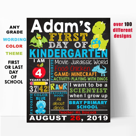 First Day Of School Sign Printable First Day Of Preschool Sign First Day Of Kindergarten Sign Pre K Chalkboard Sign Last Day Of School