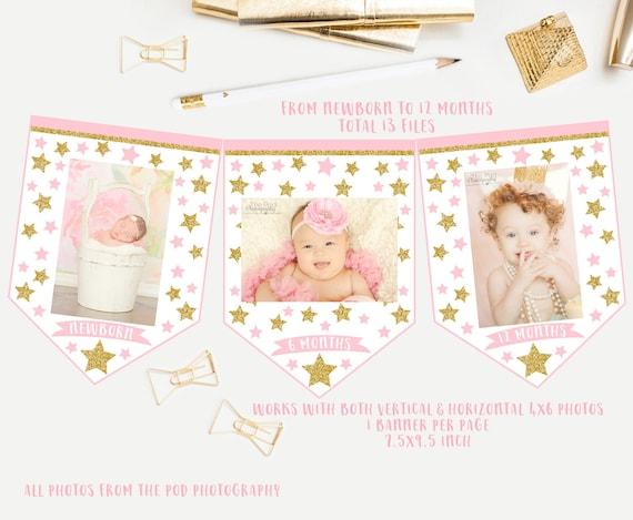 light pink and gold birthday party bunting printable print happy birthday banner Twinkle twinkle little star First birthday banner