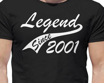 Legend 2001 16th Birthday Gifts Present Gift Ideas T Shirt For 16 Year Old Boys Epic Vinyl Print