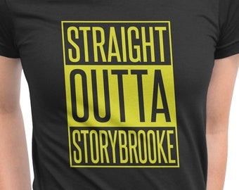 Straight Outta Storybrooke From Once Upon a Time, OUAT Vinyl Print Shirt Comes In Yellow or White