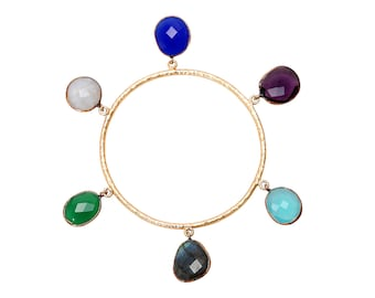 Gorgeous Handmade Bangle With Multiple Semi Precious Stones