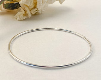 Sterling Silver 20mm x 30mm Oval ID Plate Bangle Bracelet Custom Engraved Personalized Name Initials Monogram
