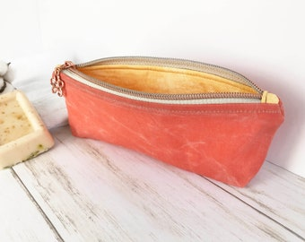 Pencil Pouch, Waxed Canvas Eyeglass Case for Purse or Tote