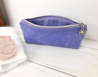 Lavender Waxed Canvas Pencil Pouch, Purple Eyeglass Case for Purse or Tote, a Perfect Gift for Mom