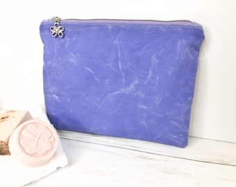 Medium Waxed Canvas Flat Zippered Pouch in Lavender Purple  with Cotton Lining for Gift for Mom