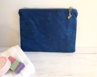 Medium Waxed Canvas Flat Zipper Pouch in Cobalt Blue for Cosmetics, Electronics, Toiletries, and Personal Items with Cotton Lining for Mom