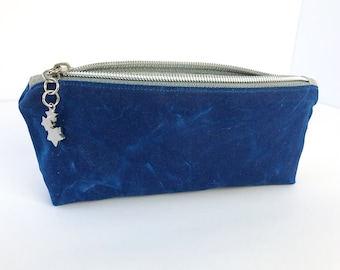 Blue Waxed Canvas Pencil Pouch, Eyeglass Case for Purse or Tote