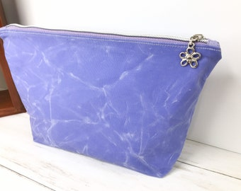 Lavender Waxed Canvas Bag, Large Zippered Pouch