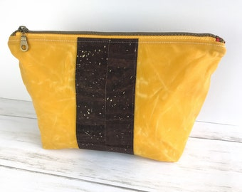 Waxed Canvas Cork Bag, Harvest Gold Yellow Zippered Pouch for Travel, Toiletries, Organizer, and Electronics