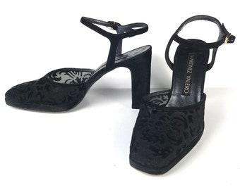 e28c0e63cf Martinez Valero Shoes Velvet/Mesh Burnout Box Toe Heels Women's Size 6B