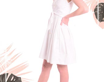 50% SALE - SIENNA - White Wrap Dress