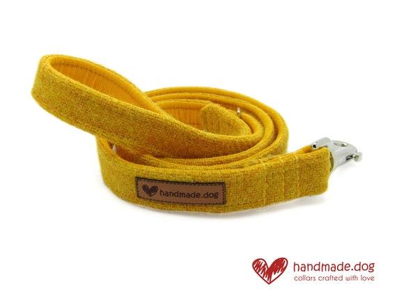 Handmade Yellow 'Harris Tweed' Dog Lead