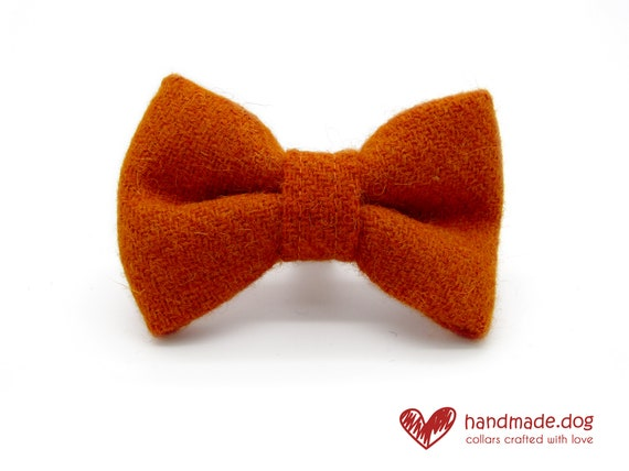 Handmade Orange 'Harris Tweed' Dog Dickie Bow
