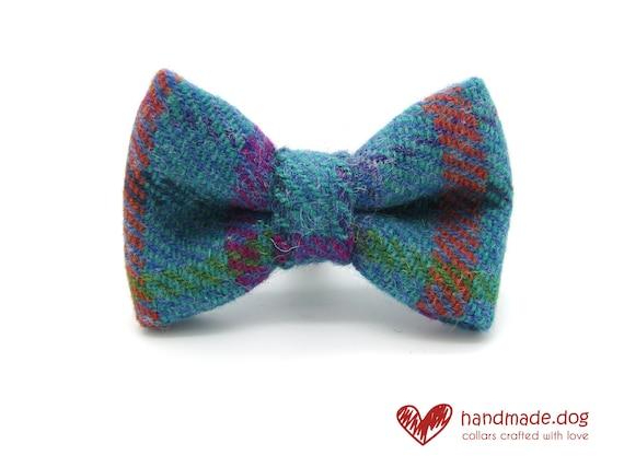 Handmade Turquoise Check 'Harris Tweed' Dog Dickie Bow