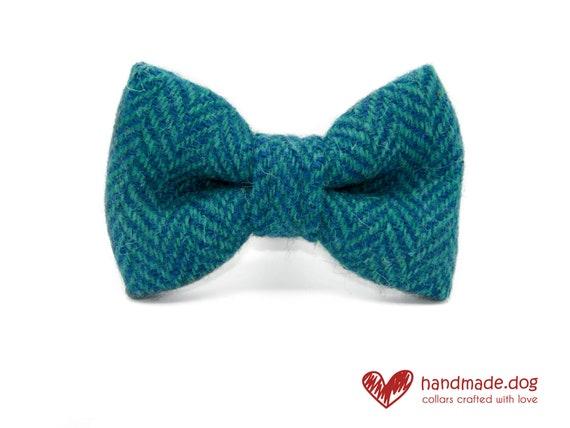 Turquoise and Green Herringbone 'Harris Tweed' Dog Dickie Bow