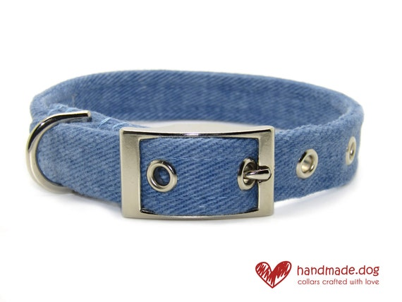 Blue Denim Fabric Dog Collar