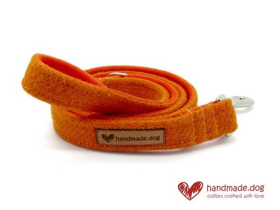 Handmade Orange 'Harris Tweed' Dog Lead