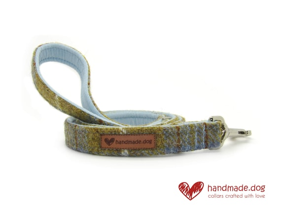 Mustard and Blue Check 'Harris Tweed' Dog Lead