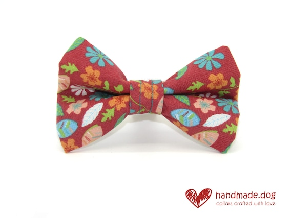 Coral Flowers Fabric Dog Dickie Bow