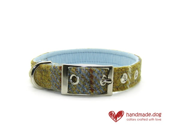 Mustard and Blue Check 'Harris Tweed' Dog Collar
