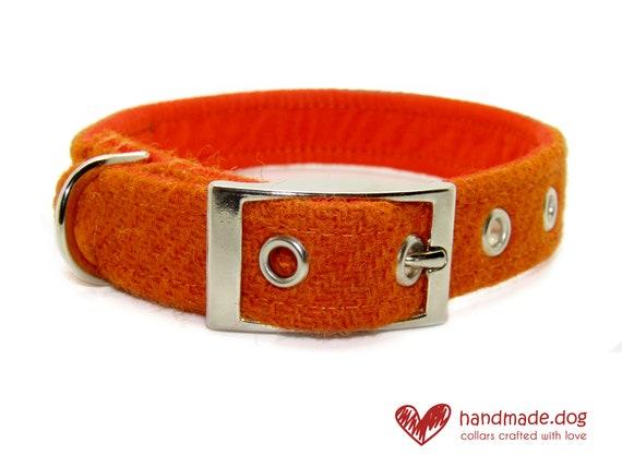 Handmade Orange 'Harris Tweed' Dog Collar