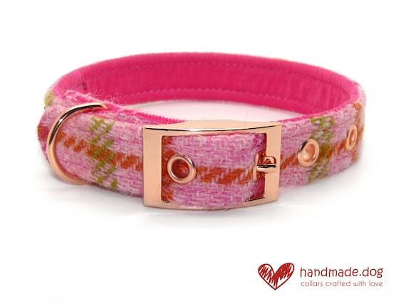 Pink Check 'Harris Tweed' Dog Collar