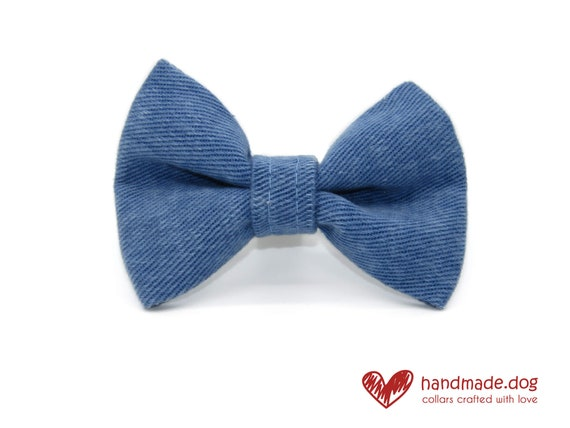Blue Denim Fabric Dog Dickie Bow