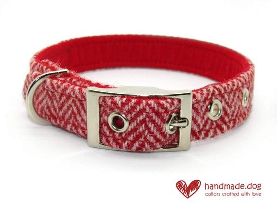 Red Herringbone 'Harris Tweed' Dog Collar