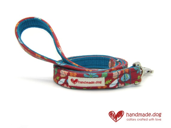 Coral Flowers Fabric Dog Lead